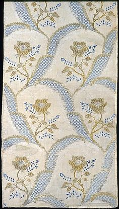 France, Lyon    Panel (Intended as Dress Fabric), 1760s    Silk, gilt- and silvered-metal strips and gilt-metal-strip-wrapped silk, plain weave with supplementary patterning wefts and supplementary brocading wefts- Art Institute of Chicago
