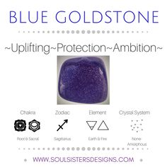 Metaphysical Healing Properties of Blue Goldstone, including associated Chakra, Zodiac and Element, along with Crystal System/Lattice to assist you in setting up a Crystal Grid. Go to https:/soulsistersdesigns.com to learn more!