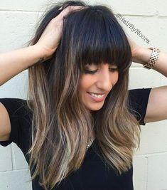 Long Balayage Hair With Straight Bangs #longhaircuts