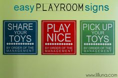 Easy Playroom Signs