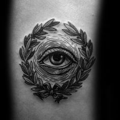 Mens Woodcut Eye Laurel Wreath Tattoo On Back