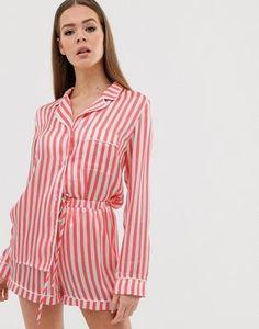 72e5601cb9f Missguided – Pyjama-Set mit langärmligem Oberteil und Shorts in Rot  gestreift