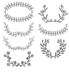 Set from laurel wreath on the white heraldic vector - by mcherevan on VectorStock®