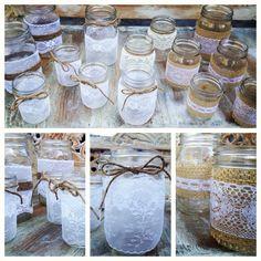 Lace & Burlap wrapped Mason Jars   DIY   Create one of a kind www.boxcreativeagency.com