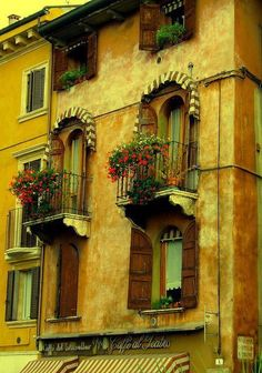 Adapt this as a screened in porch over the door of the chicken coop. / ysvoice: | ♕ |  Renaissance Balconies - Verona, Italy  | by © nuframe