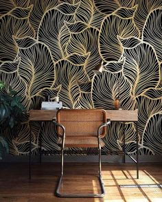 Monochrome Leaf Wallpaper Exotic leaves Wallpaper Baroque style Wall Mural Home Décor Easy install Wall Decal Removable Wallpaper Of Wallpaper, Leaves Wallpaper, Pattern Wallpaper, Interior Wallpaper, Bedroom Wallpaper Gold, Wallpaper Accent Walls, Green Leaf Wallpaper, Office Wallpaper, Wallpaper Designs
