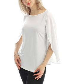 Another great find on #zulily! White Cape-Sleeve Top by Zac Studio #zulilyfinds