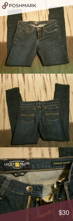 Lucky Brand Charlie Skinny jeans size 6/28 Great condition.  Lucky brand Charlie Skinny jeans in dark blue. Size 6/28. I measured 38 length, 30 inseam, 16 across the waist, 7.5 inseam. Lucky Brand Jeans Skinny