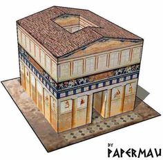 This paper model of a small house or temple , the Tutela Domus Ad Herculaneum (Protective House of Herculaneum) , was based on miniatures...