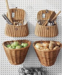 Installing pegboard in the kitchen is a great way to hang baskets for extra storage