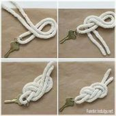 Keychain with sailor's knot, # keychain knot - Arthur Marlow Sailor Knot Bracelet, Bracelet Knots, Paracord Knots, Rope Knots, Jewelry Knots, Macrame Jewelry, Diy Macrame Wall Hanging, Nautical Knots, The Knot