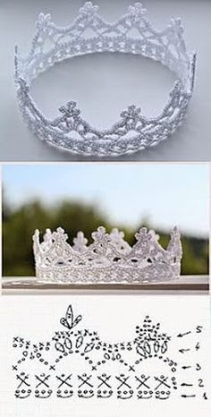 crochet crown - every princess needs at least one - www., crochet crown - every princess needs at least one - www. Crochet Diy, Love Crochet, Crochet For Kids, Crochet Flowers, Crochet Hooks, Crochet Pillow, Crochet Poncho, Irish Crochet, Diy Flowers