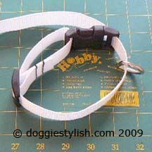 Make your own adjustable dog collar. This tutorial has great instructions on how to thread the hardware correctly.