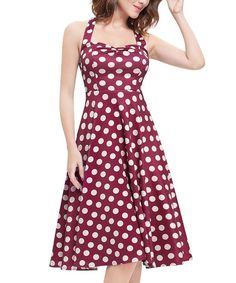 Red & White Polka-Dot Fit & Flare Dress