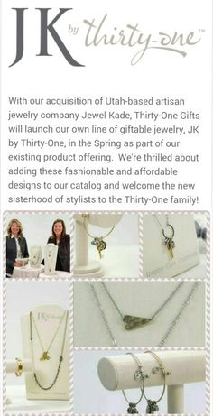NEW for 2015! JK custom jewelry is joining 31 in March. Can't wait to see the new charms and bracelets!