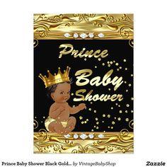 Prince Baby Shower Black Gold Sprinkle Ethnic 5x7 Paper Invitation Card