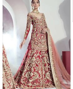 Mohsin Naveed Ranjha - Ghar Naari collection available to order Mumtaz, a bridal consisting of a silk pishwas with… Asian Bridal Dresses, Desi Wedding Dresses, Pakistani Formal Dresses, Pakistani Wedding Outfits, Bridal Outfits, Indian Dresses, Bridal Gowns, Indian Bridal Lehenga, Pakistani Wedding Dresses
