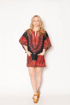 Vintage Dashiki Tunic Top Mini Dress by redpoppyvintageshop