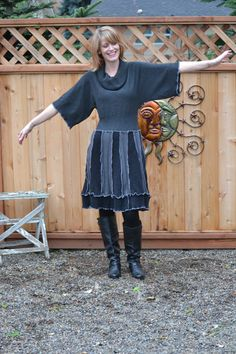 We started with a gorgeous cowl neck sweater with bat wing sleeves. The edges are serged in silver for a stunning contrast.    There are three different