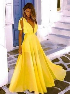 A-Line V-Neck Low Cut Floor Length Yellow Chiffon Prom Party Dress - Yellow Dresses - Ideas of Yellow Dresses - Party Dresses Online, Prom Party Dresses, Evening Dresses, Bridesmaid Dresses, Summer Dresses, Formal Dresses, Long Dresses, Dress Long, Chiffon Dresses