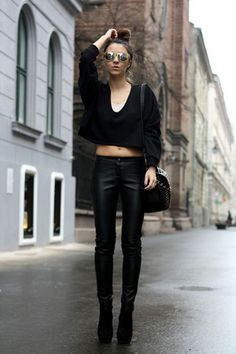 Discover this look wearing Black Style Nanda Tops, Gold Wizards Of The West Sunglasses - Rock it babe! Stylenanda, Wearing Black, Your Style, Overalls, Personal Style, Leather Pants, Feminine, Street Style, Black Style