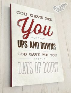 "Custom Song Lyrics, Blake Shelton, God Gave Me You, Canvas Wrap on 1-1/4"" Frame, Rustic Vintage Style Typography Art"