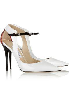 Jimmy Choo Mystic patent-leather and elaphe pumps White