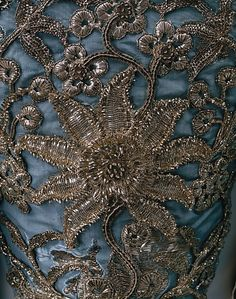 Intricate metallic embroidery on the Court Dress or robe à la française, ca. 1750, British, Silk with metallic thread.