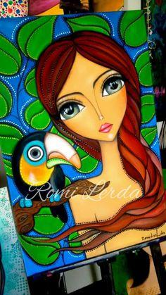 Fabric Painting, Painting & Drawing, Arte Pop, Angel Art, Illustrations, Whimsical Art, Art Plastique, Portrait Art, Face Art