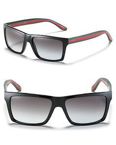 56e2af0252a Gucci Black Rectangle Wayfarer Sunglasses Jewelry   Accessories -  Sunglasses - Bloomingdale s