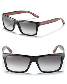 Gucci Black Rectangle Wayfarer Sunglasses | Bloomingdale's
