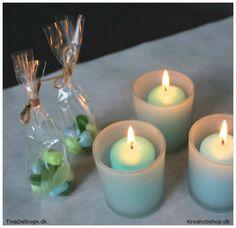 fester bordpynt lys og små cellofanposer til gæster fra kreahobshop