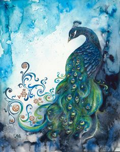 Wow - This Peacock is fabulous.  I'll be getting THIS for myself at some point!   Clockwork Elegance Fine Art Giclee Watercolour by BCDuncanDesign, $25.00