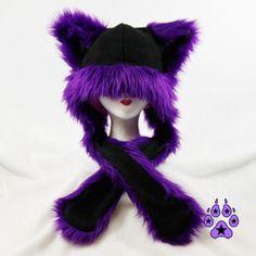 Purple Faux Fur Kitty Cat Puffet Hat rave dark cyber by pawstar, $42.00
