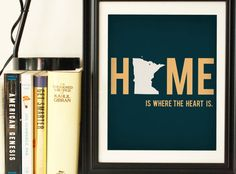 Minnesota State Art Silhouette Print Home State Art 8x10 Home Is Where The Heart Is Typography Blue Dorm Room Decor