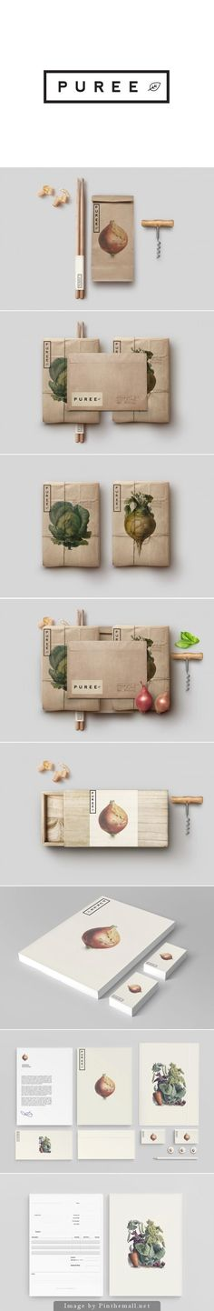 Puree Organics by Studioahamed. Antique-style botanical illustrations in branding
