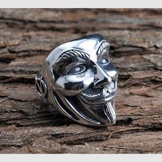 Men's Sterling Silver V for Vendetta Mask Wrap Ring
