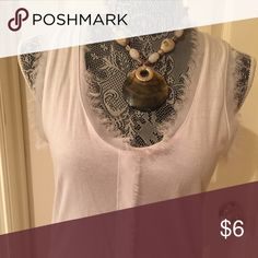 Sleeveless white tank Fun sleeveless tank with feathery detail around the neck, armholes and middle. Perfect with everything!  Size M Tops Tank Tops