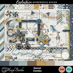 Named for our gorgeous grandson, Daniel this, easy to scrap with, versatile kit in soft shades of aqua, mustard, brown with lovely neutrals, this versatile digital scrapbooking kit especially for boys, will quickly become a stash favourite! #MyMemoriesSuite #MyMemories #MyMemoriesFans #digiscrap #digitalscrapbooking #boyscrapbookkit #masculinescrapbookkit