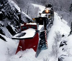 """This picture of a """"Canadian American Railroad Company"""" (CDAC) Snowplow clearing the tracks is a common image throughout the Northeast. The photo was featured in the """"Sun Train Book Series"""" and was taken by well known Northeast photographer Roger Merchant. Railroad Companies, Choo Choo Train, Railroad Photography, Old Trains, Train Pictures, Snow Plow, Rolling Stock, Canada, Steam Locomotive"""