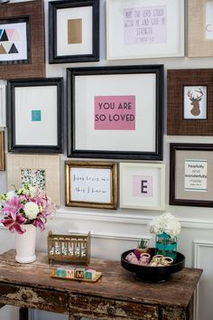 Gallery wall created as baby shower decor - can gift to the new mom for the nursery!
