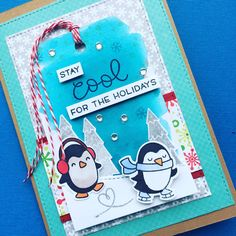 Christmas card using lawn fawn snow cool stamps and lawn fawn winter penguin stamps.