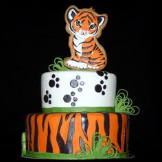 My daughter's 11th Birthday 'Cute & Girly' Tiger Cake. http://www.facebook.com/pages/Fun-with-Fondant/201976469840053
