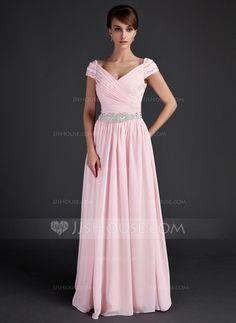 A-Line/Princess V-neck Floor-Length Chiffon Mother of the Bride Dress With Ruffle Beading (008015624) - JJsHouse