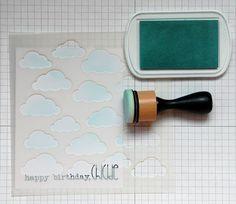 Chick - Schritt 1 Mischung Tinte über Cloud-Schablone