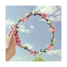 cute pink floral bubblegum flower crown ❤ liked on Polyvore featuring pictures, icons, image, photos & backgrounds and pink pictures