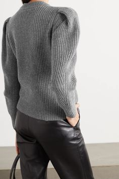 Gray Randy ribbed merino wool and cashmere-blend cardigan   ISABEL MARANT   NET-A-PORTER Isabel Marant, Merino Wool, Fashion News, Wool Blend, Knitwear, Cashmere, Menswear, Turtle Neck, Pullover