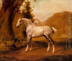 A Grey Stallion In A Landscape by George Stubbs