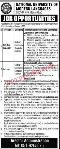 National University of Modern Languages (NUML), Assistant Professor, Lecturer Jobs, May 2017 Last Date: 01-06-2017   #Assistant Professor #Lecturer #NUML Jobs #Teaching Jobs #University Jobs