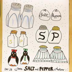Salt & pepper shakers from yesterday!  #cbdrawaday #creativebug #lisacongdon #mariaysasi #drawing #sketchaday #illustration #saltandpepper #shakers